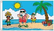 Christmas Santa Claus on a Tropical Island 5'x3' Flag