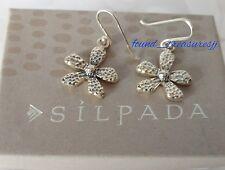 """Silpada Oxidized .925 Sterling Silver Hammered Flower Earrings 1 1/2"""" L W1155"""