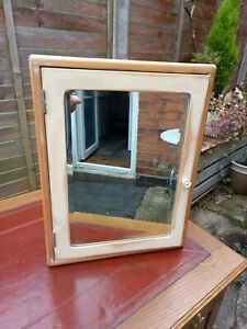 French Vintage Wooden Mirrored Bathroom Medicine Cabinet Cupboard Storage Unit