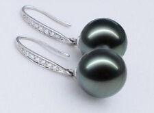 Perfect round AAA+ 11-12mm Tahaitian Black Pearl Earrings