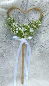 Rustic Wildflower Heart shape Flower Girl Wedding Wand Country wedding