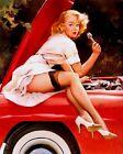 Retro Pinup Girl QUALITY CANVAS PRINT A4 Vintage Poster Gil Elvgren Car Bonnet