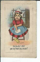 AX-270 - Crying Dutch Girl, Artist Signed Easley 1907-1915 Divided Back Postcard