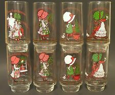 *VINTAGE* COCA-COLA LIMITED EDITION HOLLY HOBBIE CHRISTMAS GLASSES SET OF 8