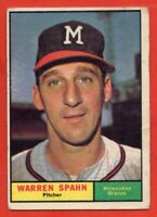1961 Topps #200 Warren Spahn VG-VGEX WRINKLE MARKED Milwaukee Braves FREE SHIP