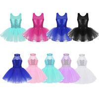 Girls Ballet Tutu Dance Dress Kids Gymanstics Sequined Leotard Skirt Dance wear