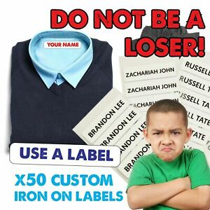 Iron on Name Labels 1 or 25 Garment Tags for School Clothing PRINTED IN UK