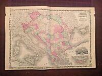 1863 Johnson & Ward Hand Colored Atlas Map of AUSTRIA,TURKEY in Europe & GREECE