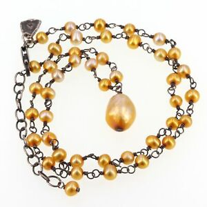 Retired Silpada Sterling Hand-Wired Golden Freshwater Pearl Necklace N1377
