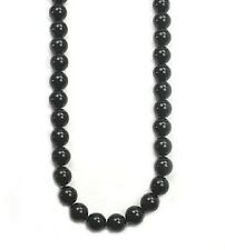 "Large 14mm black agate bead knotted necklace -20"" NKL230013"