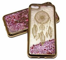 For iPhone 7 / 8 - GOLD DREAM CATCHER Pink Glitter Stars Liquid Water Case Cover