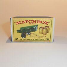 Matchbox Lesney 51 b John Deere Tipping Trailer empty Reproduction E style Box