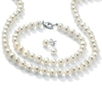 Freshwater Pearl Silver Necklace Bracelet and Earrings Set