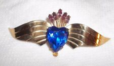 Vintage Signed CORO STERLING SILVER Wing and a Prayer Pin Brooch Large!