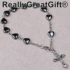 TWO (2) Catholic Rosary BRACELET Lot - Heart Shaped Hematite - 8 mm - NEW