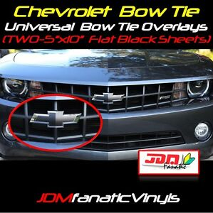 "2x 5x10"" Matte Flat BLACK Bow Tie Emblem Overlays Decal Wrap Satin Universal KIT"