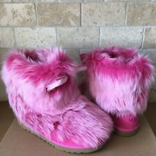 UGG Pinkipuff Classic II Pink Suede Sheepskin Boots Size Kids Youth 6 = Womens 8