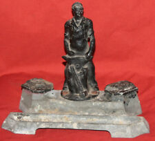Vintage Soviet Russian Metal Double Desk Inkwell With Blacksmith Statuette