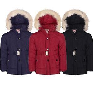 Girls Belted Winter Jacket Padded Cuffs Hood Coat Zip Snap Fastening 5-14 Years