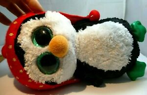 "TY BEANIE BOOS FREEZE the 9"" HOLIDAY PENGUIN Beanbag Plush Toy (no tags)"