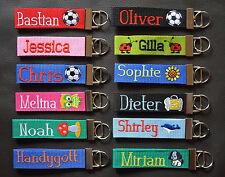 Schlüsselanhänger Schlüsselband mit Wunschname und Motive bestickt Fußball Eule