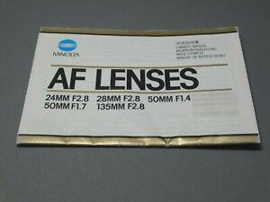 Minolta AF Lenses Instruction Manual - Original not a copy