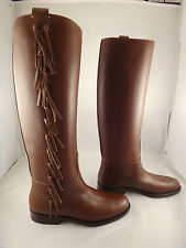 NIB Valentino Brown Fringe Leather Knee High Flat Riding Boots Shoes 40 $1845
