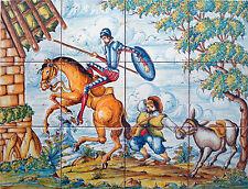 AZULEJOS PINTADOS A MANO de CERÁMICA 45x60cm * DON QUIJOTE Y SANCHO * Talavera