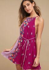 People It's a Cinch Asymmetrical Slip Dress in Wine Sz S OB580615