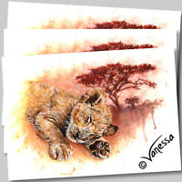 Limited Edition A4 Signed Print Baby Lion Cub Painting by Artist Vanessa Grundy