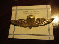 WW2 NAVY PARACHUTE WING HARRY WOSK SAN DIEGO ON ORIGINAL WOSK CARD DIE STRUCK