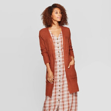 WOMEN'S LONG SLEEVE TEXTURED CARDIGAN M BROWN - UNIVERSAL THREAD NEW WITH TAGS