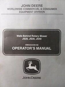 John  Deere JS20 JS30 JS40 Walk-Behind Lawn Mower Garden Tractor Owners Manual