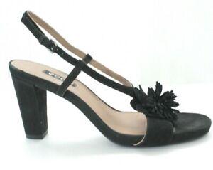 Ecco Size 9 40 Block Heel Sandal Strappy Black Suede Leather Floral Comfort Shoe