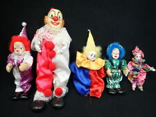 (5) vintage circus clowns collectible clown figurines fabric & porcelain 1 music