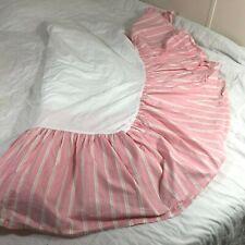 Vintage Ralph Lauren Pink Striped Dust Ruffle Bed Skirt California King