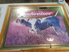 Budweiser Beer Wildlife Pointer Hunting Dog Large Bar Mirror 1999 Limited Ed