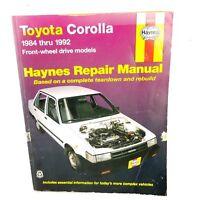 Haynes Repair Manual Toyota Corolla 1984 - 1992 Front Wheel Drive Models 92035