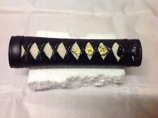 "6"" Black Leathe Wakizashi tsuka  for iaito katana shinken iaido japanese sword 1"