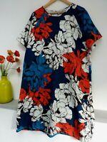Gorgeous Damart Blue Mix Floral Knee Length Midi Shift Dress Size 20/22, Bnwot