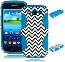 For Samsung Galaxy S3 Hybrid Chevron Hard Case / Sky Blue Silicone Cover