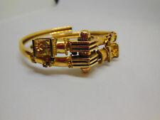 Vtg Antique 19C Georgian Victorian 9K Bohemian Garnet Etruscan Bypass Bracelet