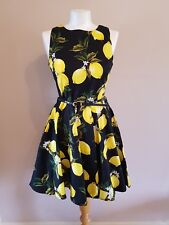 Like Smashed Lemon Print Beach Holiday Party Sleeveless Belt Pockets Zip