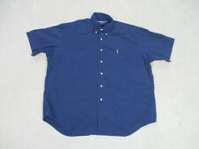 Ralph Lauren Polo Button Up Shirt Adult 2XL XXL Blue Brown Pony Casual Mens A18