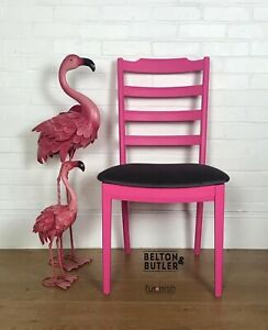 Bright Hot Pink Single G Plan Padded Upholstered Chair, Dark Grey Velvet Seat