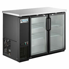 """48"""" Black Counter Height Glass Door Back Bar Refrigerator with Led Lighting"""