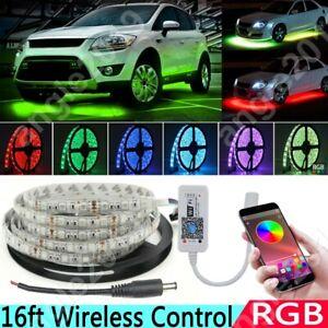 RGB Multicolor LED Car Underbody Glow Neon Light Strip Kit App Wireless Control