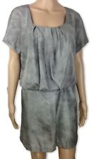 Obakki Dress New Size 8 Gray Silk Blouson Short Sleeve Scoop Neck MSRP $375