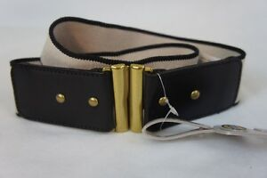 Fossil Belt Sz M Beige Black High Waist Rivet Leather and Man Made Material