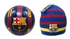 Fc Barcelona Official Soccer Size 5 Ball & Beanie Combo 01-2